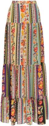Etro rose print tiered silk maxi skirt