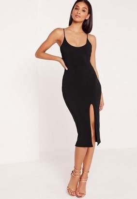 Missguided Black Strappy Scoop Neck Bodycon Midi Dress