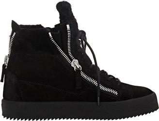 Giuseppe Zanotti Women's Shearling-Lined Double-Zip Sneakers-BLACK $765 thestylecure.com