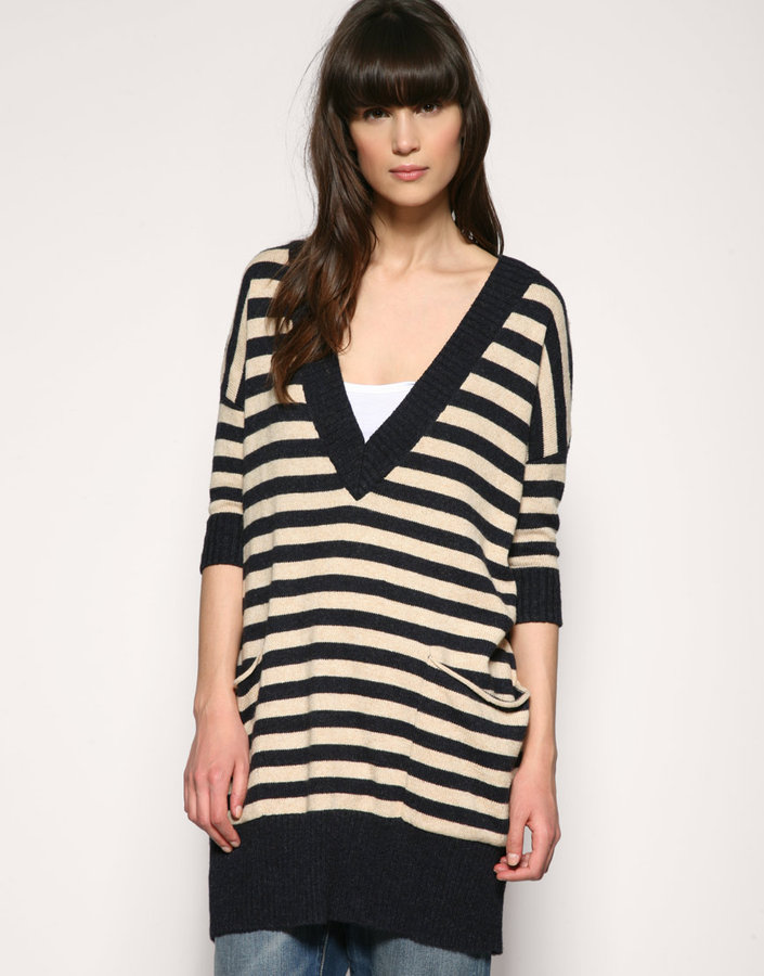 Whistles Stripe Oversize Chunky Pocket Sweater