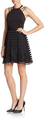 Guess Striped Halter Fit-and-Flare Dress $148 thestylecure.com