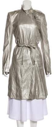 Ann Demeulemeester Metallic Leather Coat