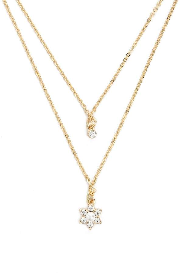 Forever 21 Faux Gem Flower Layered Pendant Necklace