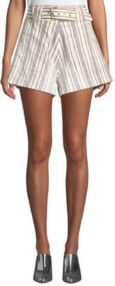 Derek Lam 10 Crosby Belted Striped Patch-Pocket Cotton Shorts