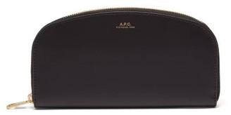 A.P.C. Half Moon Zip Around Leather Wallet - Womens - Black