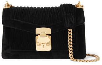Miu Miu Confidential Matelassé Velvet Shoulder Bag - Black