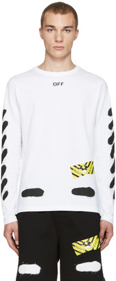 Off-White White Diagonal Spray Long Sleeve T-Shirt $320 thestylecure.com