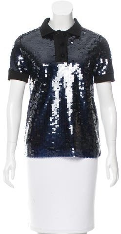Carven Carven Sequined Short Sleeve Top w/ Tags
