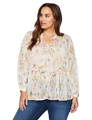 Lucky Brand Women's Plus Size Floral Printed Peasant TOP