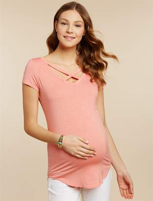 Jessica Simpson Motherhood Maternity Cross Back Maternity T Shirt