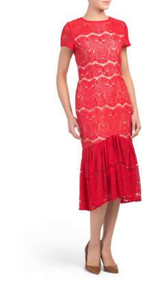 Midi Cap Sleeve Lace Dress