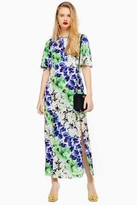 5aa3c605d0 Topshop Womens Austin Floral Print Angel Sleeve Midi Dress - Multi