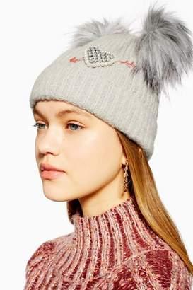 341acc9d628 Topshop Womens Double Faux Fur Pom Pom Beanie