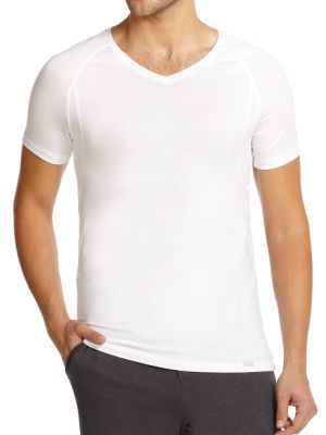 Hanro Solid V-Neck Tee $68 thestylecure.com