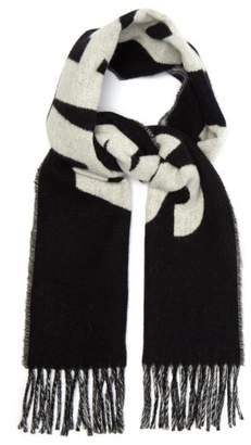 Ami Logo Wool Blend Scarf - Mens - Black White