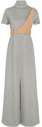 Maison Margiela Leather-Trimmed Wool-Blend Maxi Dress