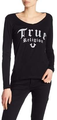 True Religion Rounded V-Neck Script Long Sleeve Tee