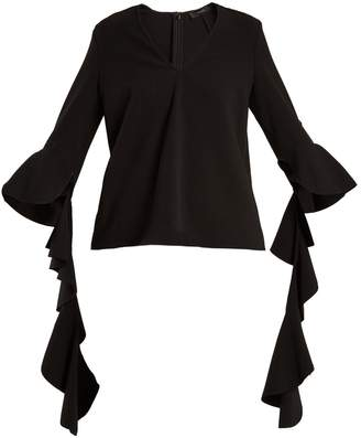 Ellery Ace V-neck deconstructed-sleeved crepe top