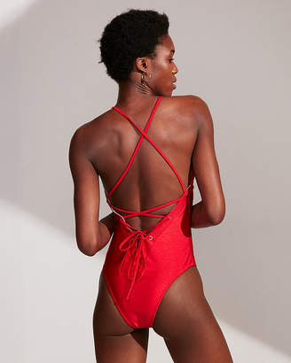 Express Shimmer Lace-Up One-Piece Swimsuit