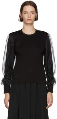 Noir Kei Ninomiya Black Organza Sleeve T-Shirt