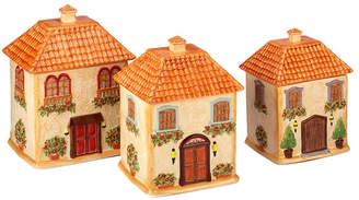 Certified International Piazette 3-D Villa House 3-Pc. Canister Set