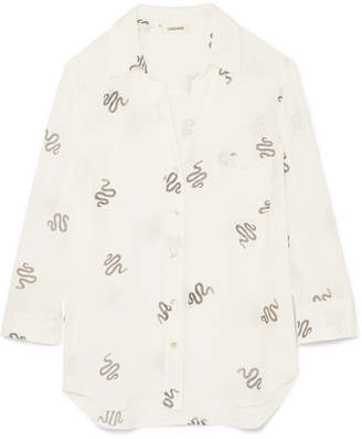 L'Agence Ryan Printed Silk-georgette Shirt - Cream