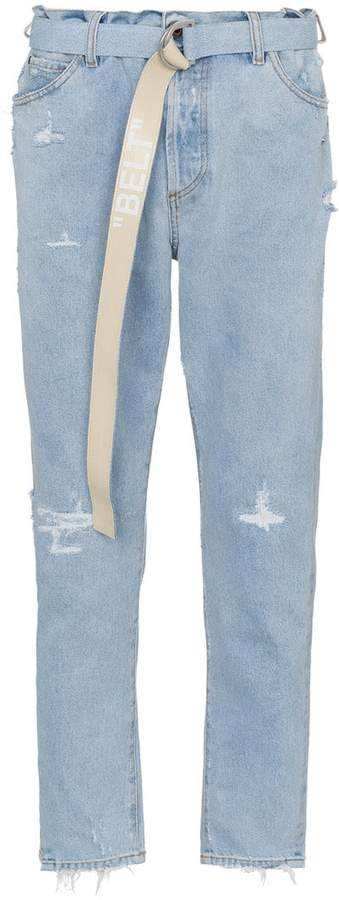 Off-White bleached distressed cotton slim-leg jeans