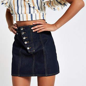 River Island Dark blue raw denim A line mini skirt