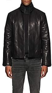 John Varvatos Men's Layered-Collar Leather Jacket - Black