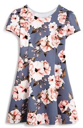 Aqua Girls' Cap-Sleeve Floral Dress, Big Kid - 100% Exclusive