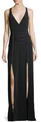 Haute Hippie Philosophers Stone Lace-Up Double-Slit Gown