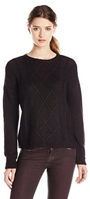 Buffalo David Bitton Women's Bullette Sequin Elbow Patch Pullover Sweater $79 thestylecure.com