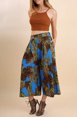 Umgee USA Blue-Tropical-Print Gaucho Pant