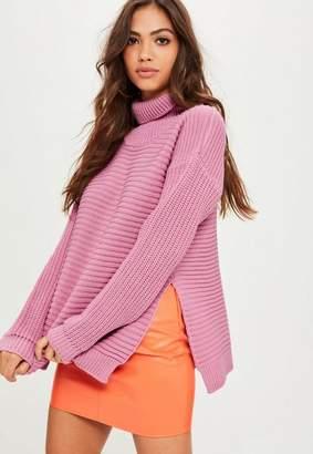 Missguided Pink Roll Neck Step Hem Knitted Jumper, Pink