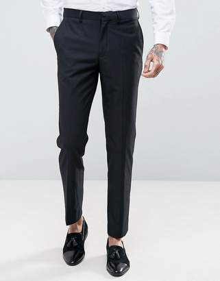 French Connection Slim Fit Black Tuxedo Pants