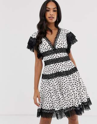 Bronx And Banco & Banco Brenda polka dot mini dress with lace trim