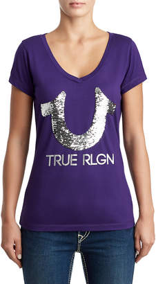 True Religion WOMENS SEQUIN LOGO TEE