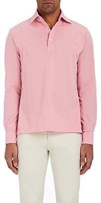 Barneys New York Men's Cotton Long-Sleeve Polo Shirt - Pink