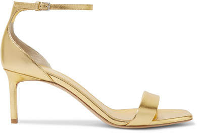 Saint Laurent - Amber Metallic Leather Sandals - Gold