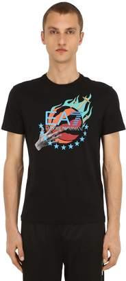 Emporio Armani Ea7 Logo Printed Cotton Jersey T-Shirt