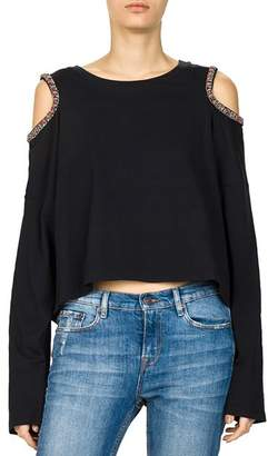 The Kooples Beaded Cold-Shoulder Long-Sleeve Top