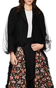 Noir Kei Ninomiya Women's Tulle-Overlay Crop Double-Breasted Blazer - Black