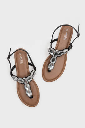 Ardene Glass Jewel T-Strap Sandals