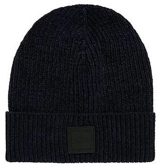 c3c9991036a HUGO BOSS Cotton-chenille beanie hat with square silicone badge