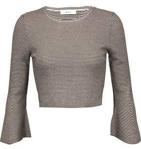 A.L.C. Shiloh Cropped Striped Merino Wool-Blend Top