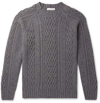Officine Generale Cable-Knit Melange Wool Sweater