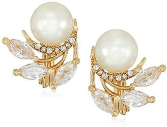 Anne Klein Classics Tone Pearl Button Clip On Earrings