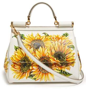 Dolce & Gabbana Sicily Mini Sunflower Print Dauphine Leather Bag - Womens - White Multi