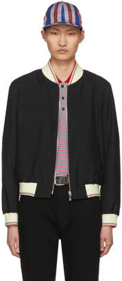 Thom Browne Black Ribbed Zip-Up Bomber Jacket