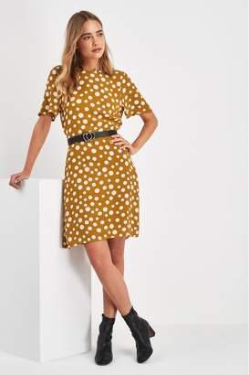Next Womens Mustard Spot Short Sleeve Tea Dress - Yellow